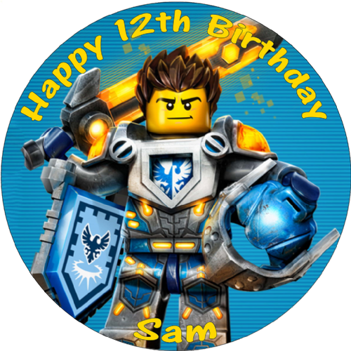 NEXO KNIGHTS CLAY PERSONALISED ROUND EDIBLE CAKE TOPPER